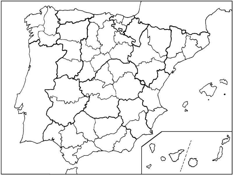 Mapa vacío de España, mapa en dibujo blanco para colorear o imprimir
