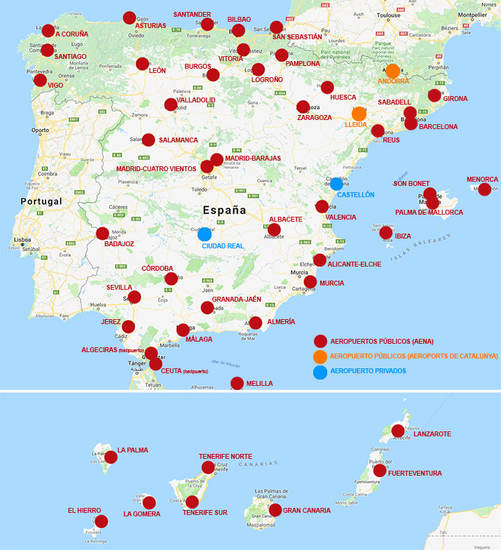 Mapa de los Aeropuertos de España