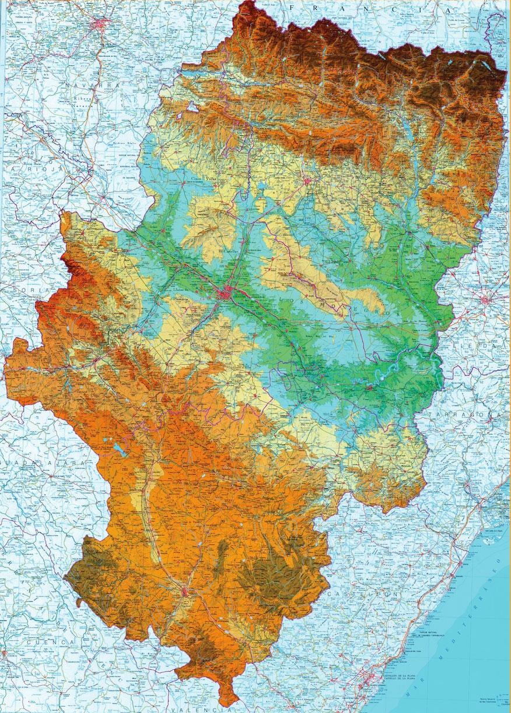 Mapa topográfico de Aragón con relieve