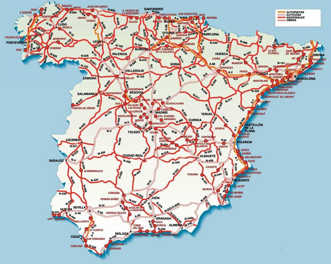 Mapa de Autopistas, Autovías y Carreteras Nacionales de España