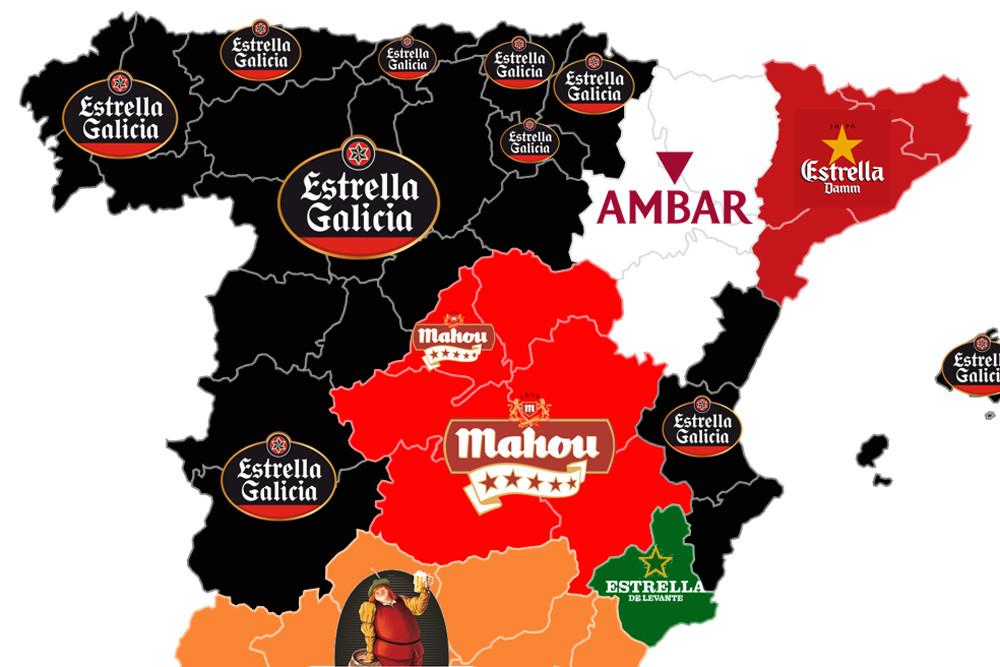 Mapa de las Cervezas preferidas en España