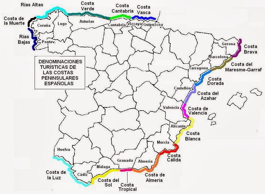 Mapa de las Costas de España