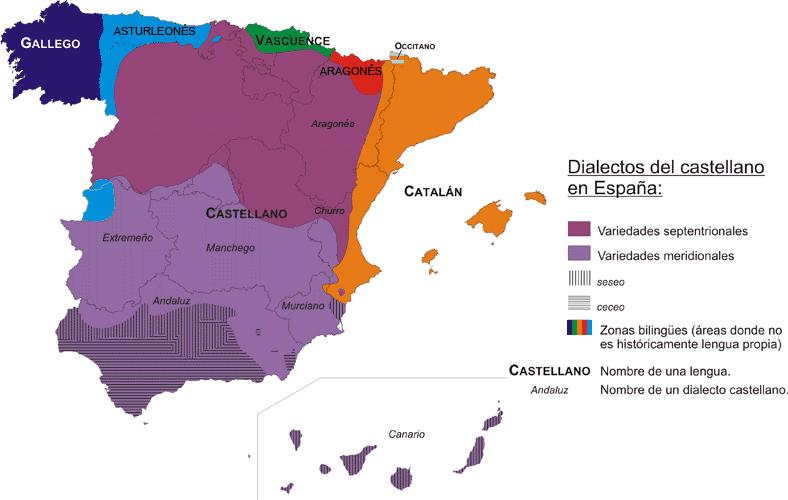 Mapa de Lenguas y Dialectos del Castellano en España