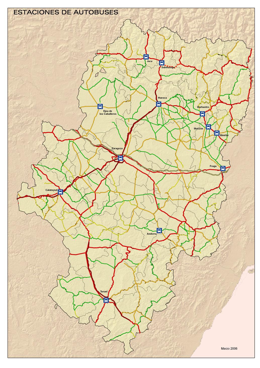 Mapa de las Estaciones de Autobús de Aragón