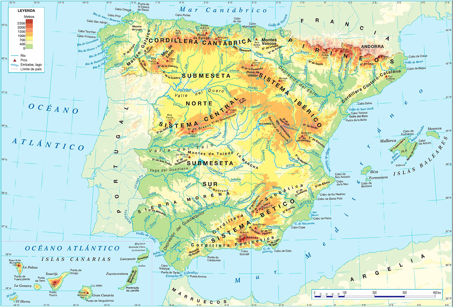 Mapa físico de España con los ríos de España