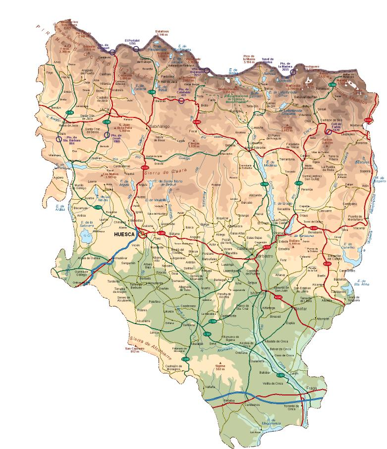 Mapa físico de Huesca (Plano de Huesca)