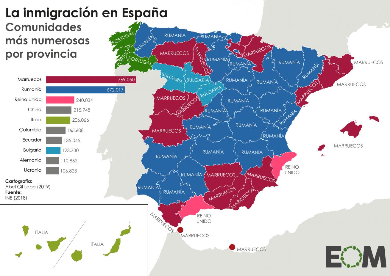 Mapa de la Inmigración en España