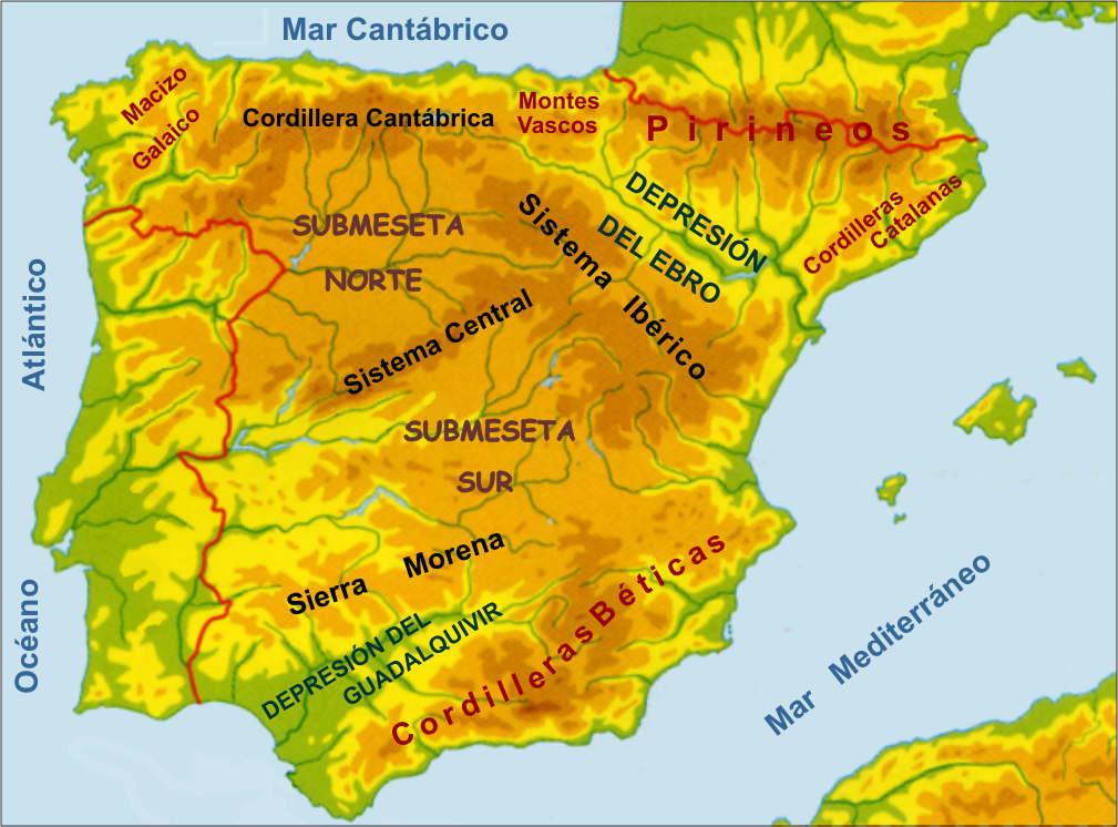 Mapa de Montañas de España y Portugal (Mapa de Montañas de la Península Ibérica)