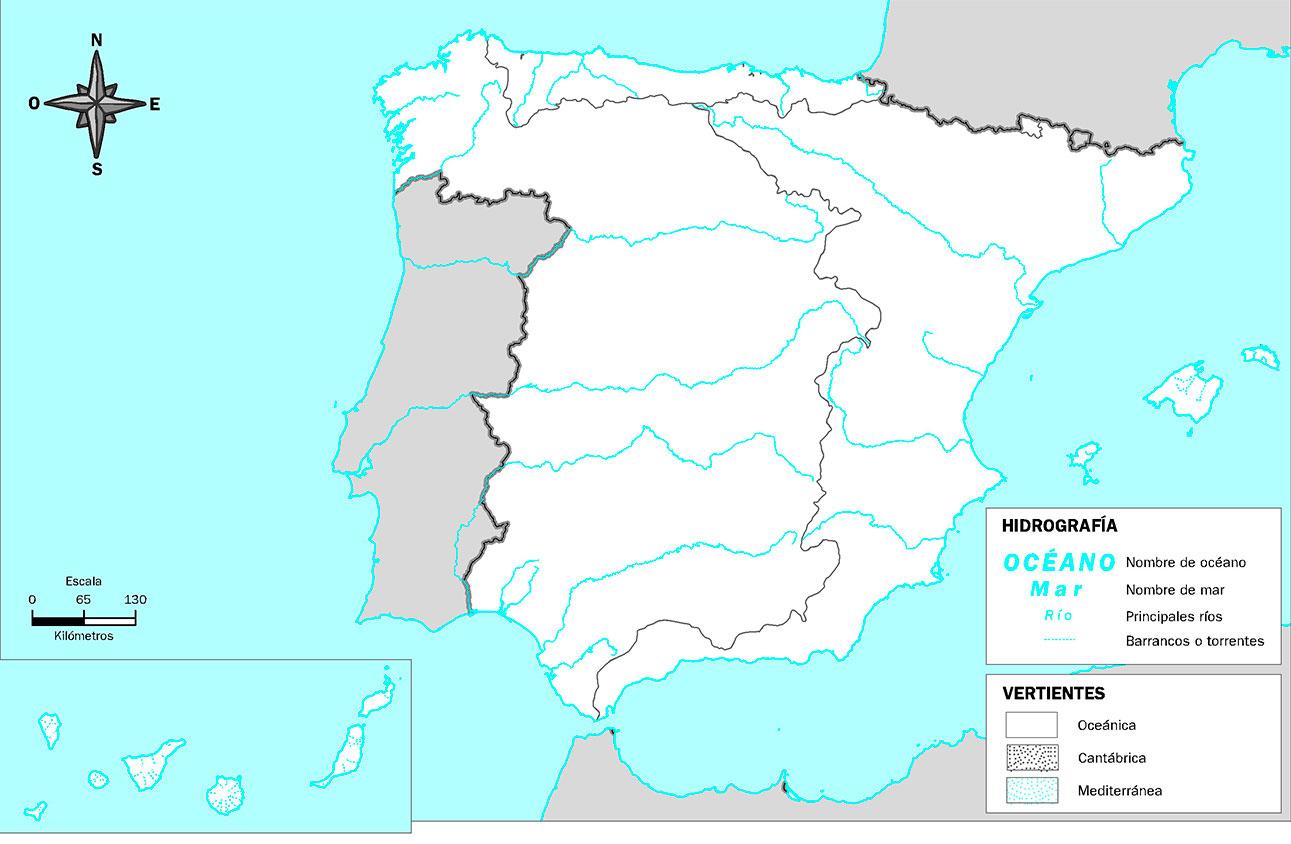 Mapa Mudo de la Hidrografía de España