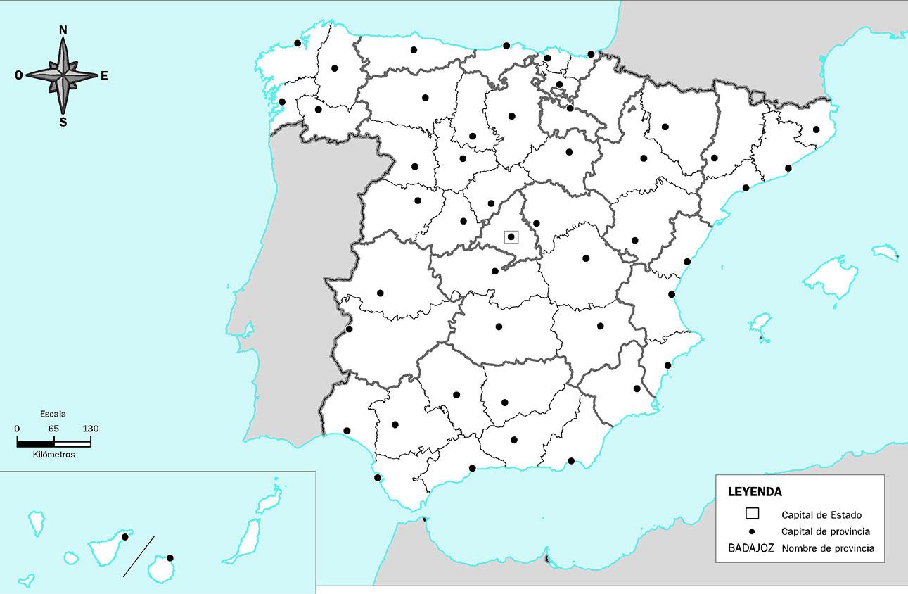 Mapa mudo de las Provincias de España en Blanco