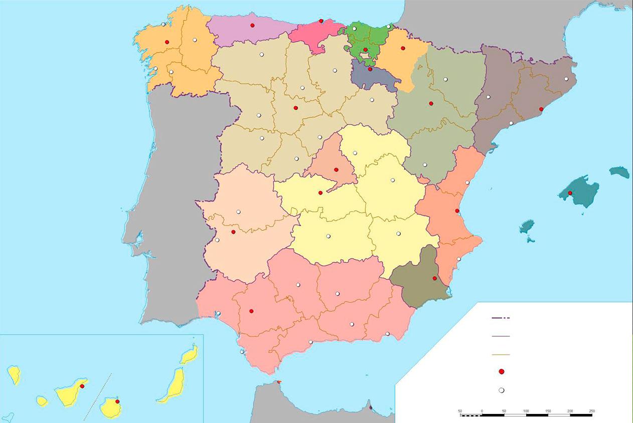 Mapa Mudo de las Provincias y Capitales españolas