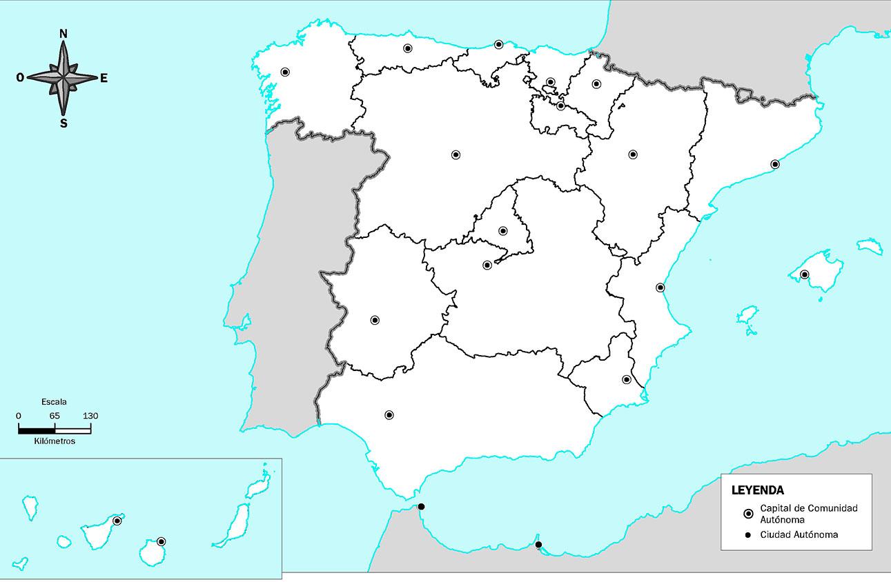 Mapa Mudo Capitales de las Comunidades Autónomas