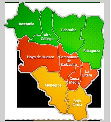 Mapa político de las Comarcas de Huesca