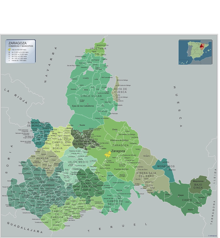 Mapa Político de los municipios de la provincia de Zaragoza