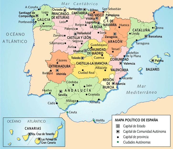 Mapa de Provincias y Capitales de España