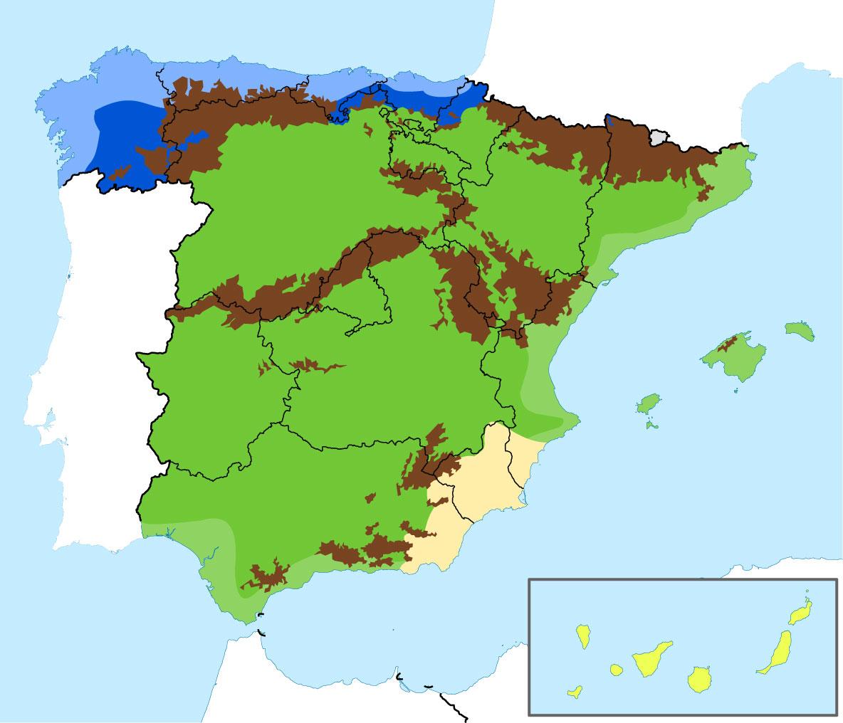 Mapa de las Regiones Climáticas de España