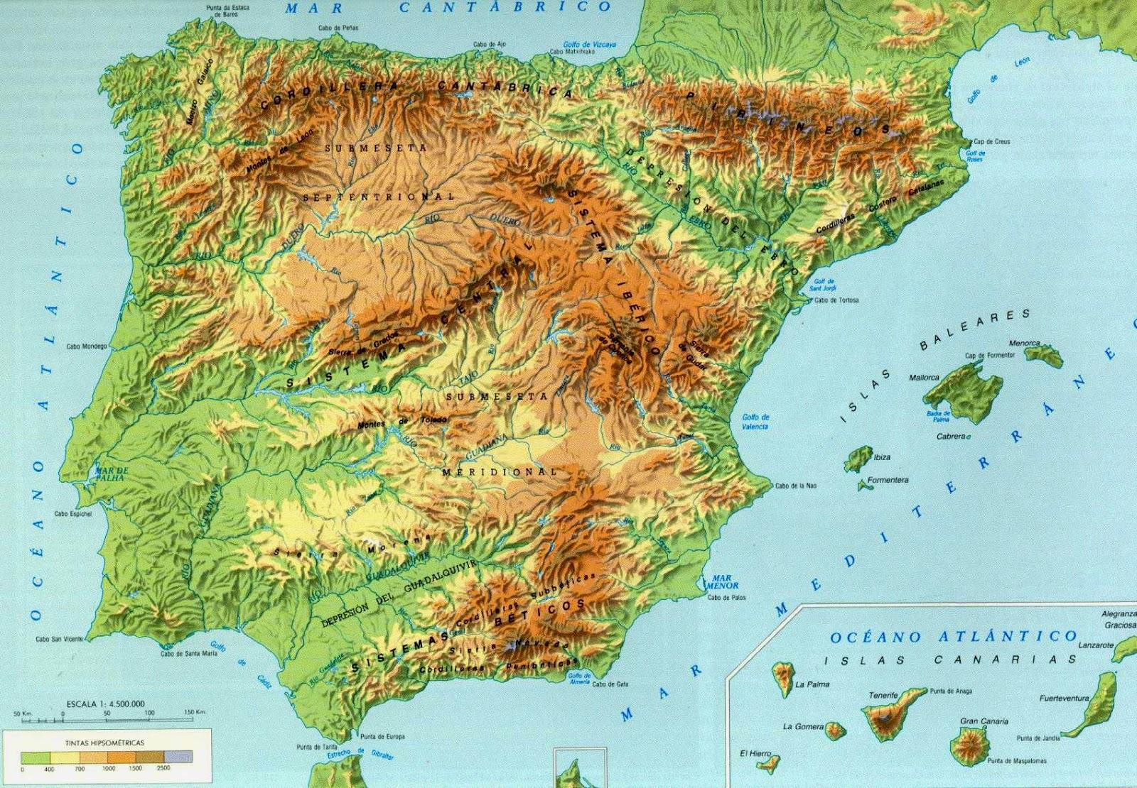 Mapa de España con relieve. Mapa topográfico de España