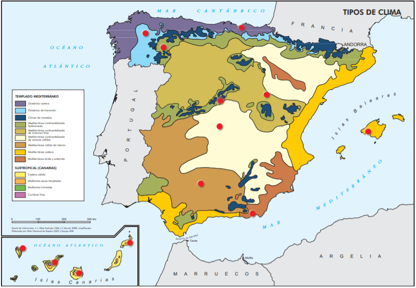 Mapa de los Tipos de Clima de España