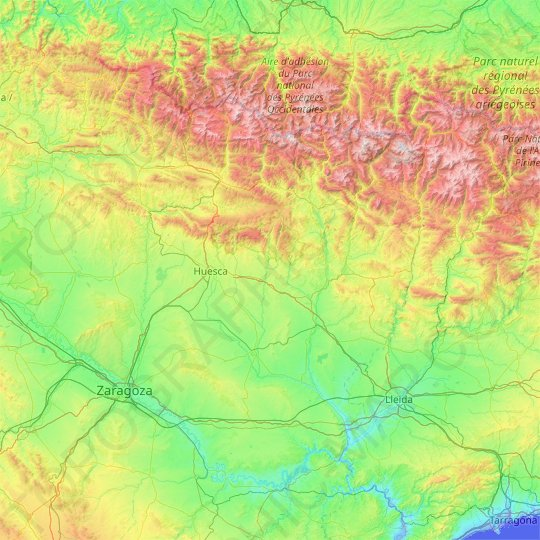 Mapa topográfico de Huesca