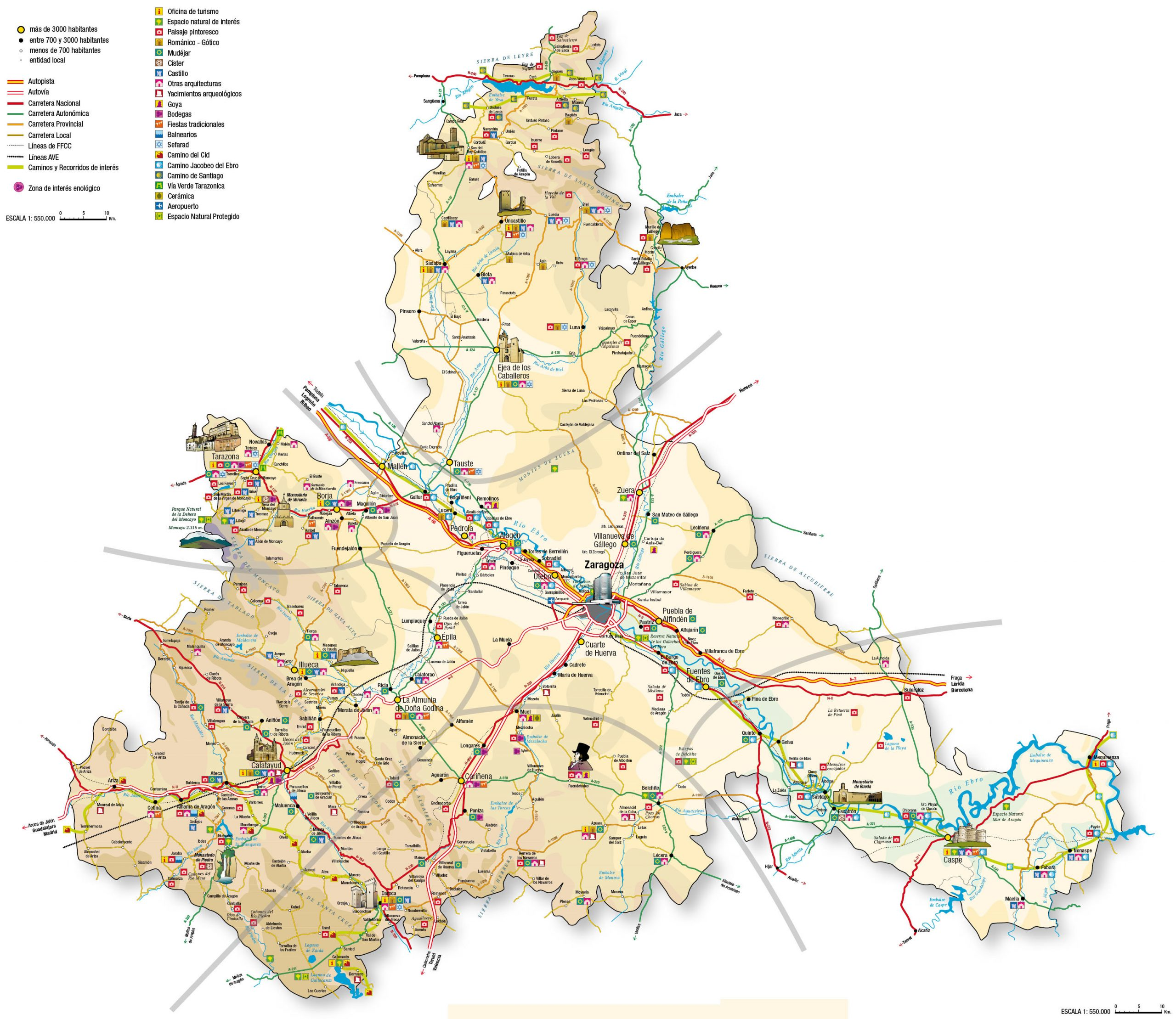 Mapa turístico de la provincia de Zaragoza