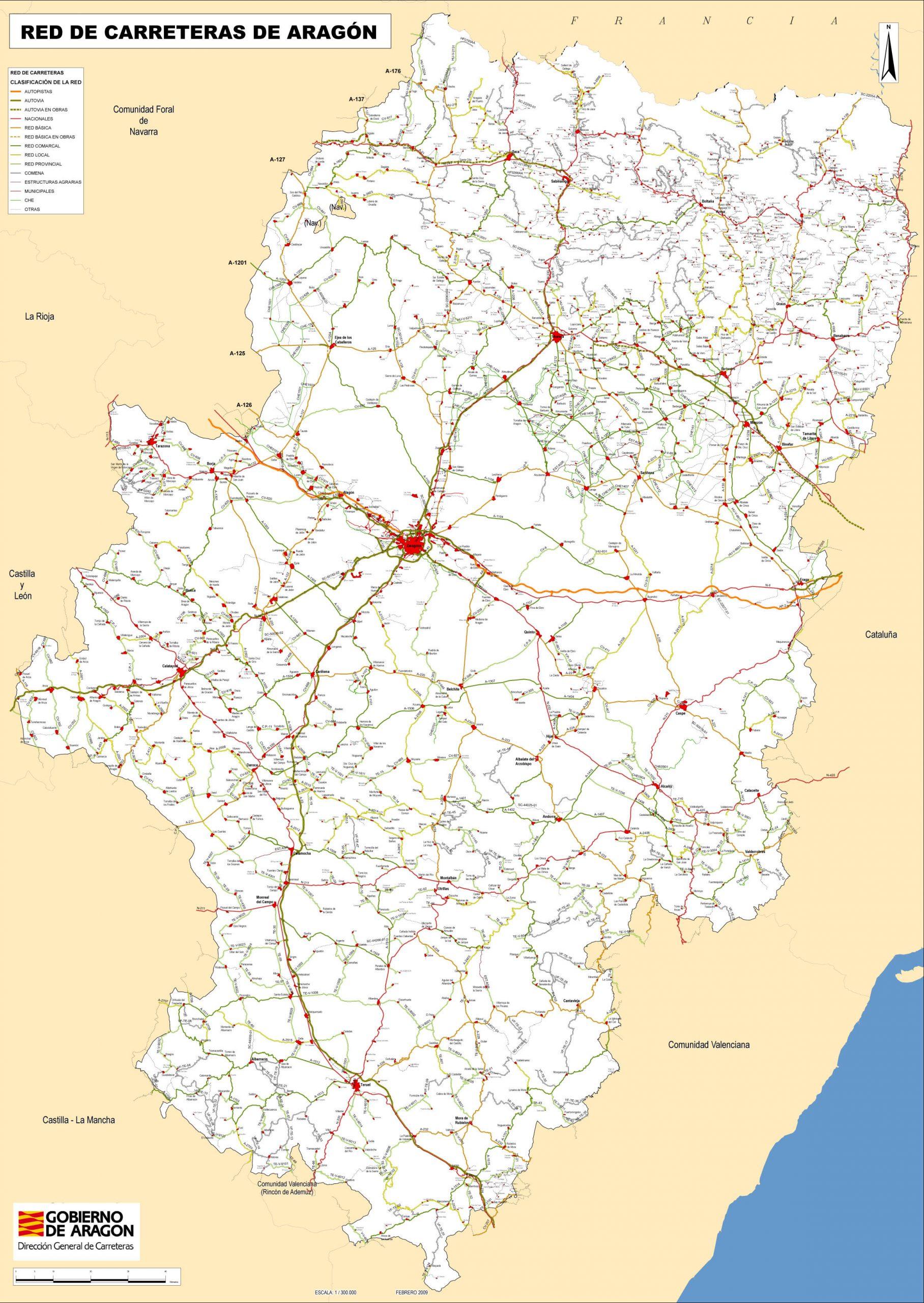 Plano de Aragón: Mapa de Carreteras de Aragón