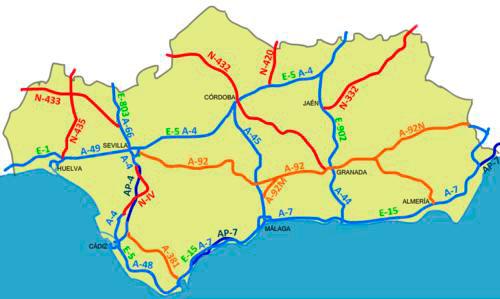 Mapa Rios De Andalucia.Mapas De Andalucia