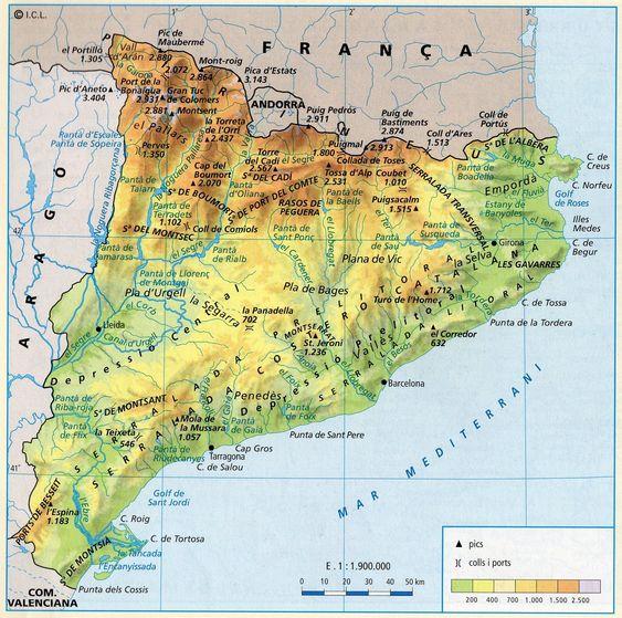 Mapa Físico de Catalunya