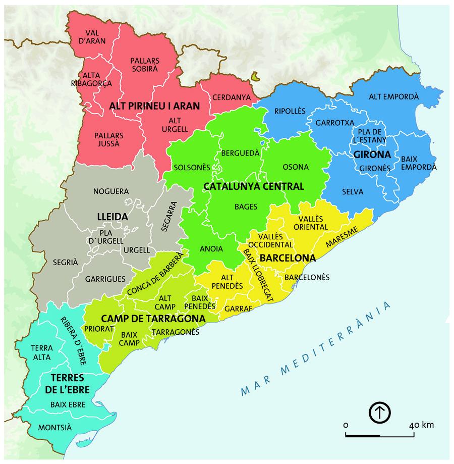 Mapa político de las comarcas de Catalunya