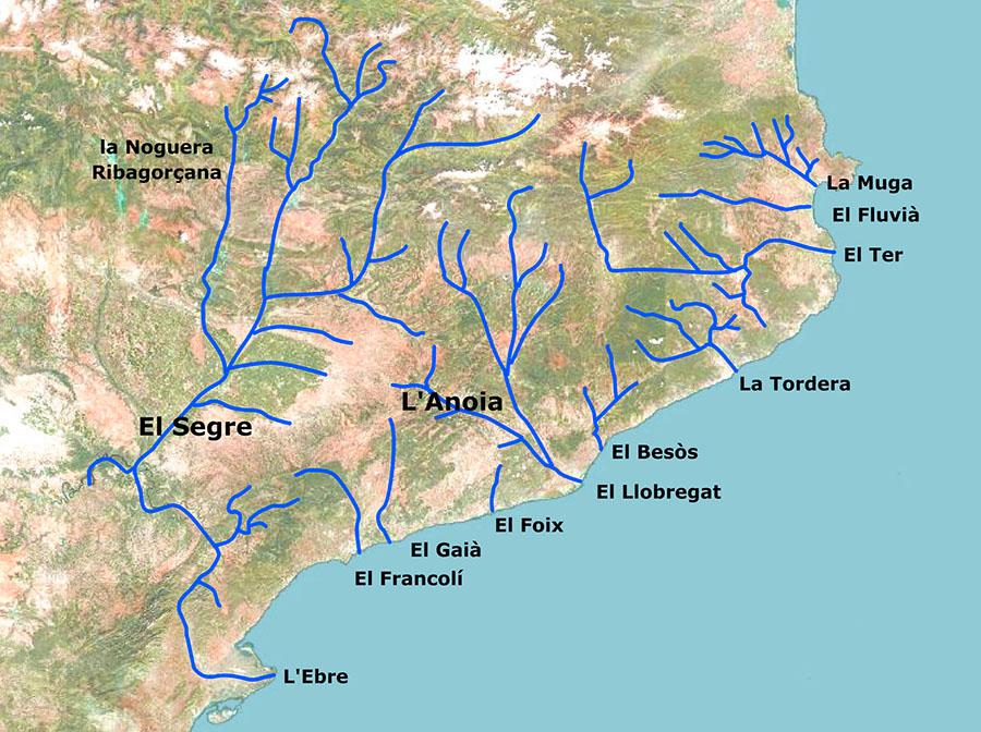 Mapa de ríos Catalunya