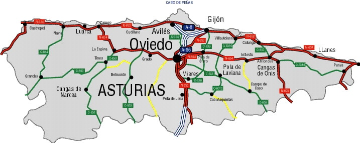 Mapa de Carreteras de Asturias