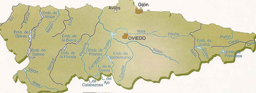 Mapa de Ríos de Asturias