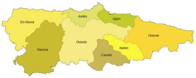 Mapa de las Comarcas de Asturias
