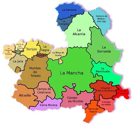 Mapa de las Comarcas de Castilla la Mancha