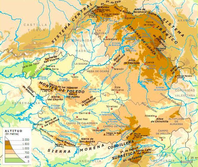 Mapa Físico de Castilla la Mancha