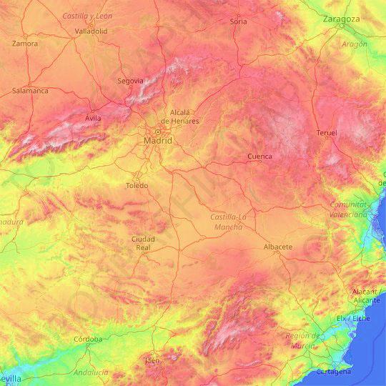 Mapa Topográfico de Castilla la Mancha