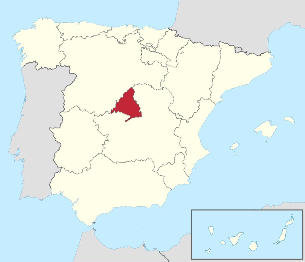 Ubicación Geográfica de la Comunidad Autónoma de Madrid
