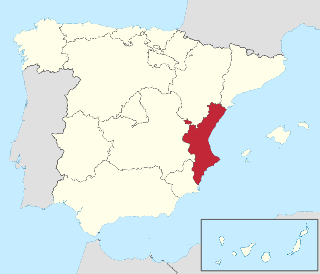 Ubicación Geográfica de la Comunidad Autónoma de Valencia